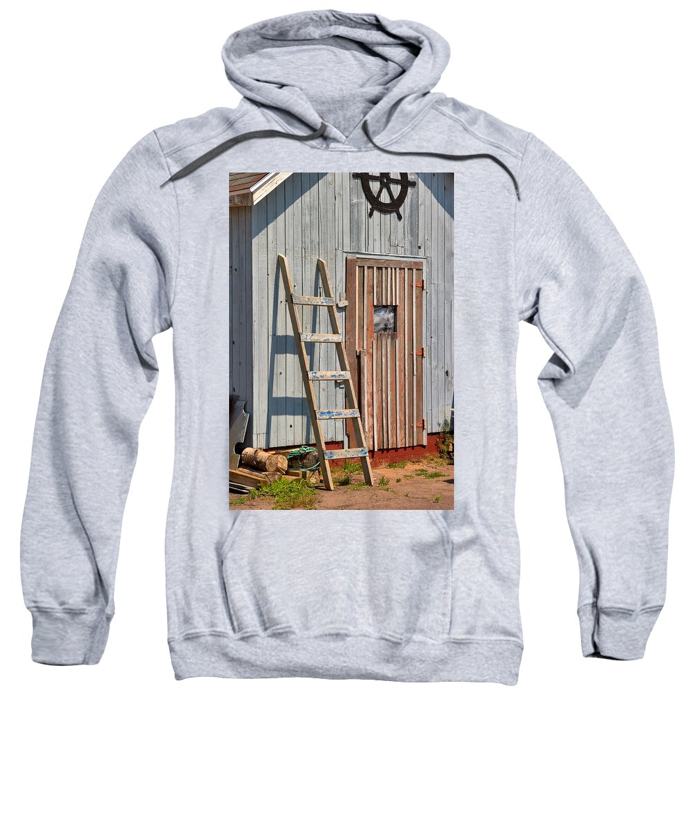 Travel Sweatshirt featuring the photograph Fisherman's Shed In Prince Edward Island by Louise Heusinkveld