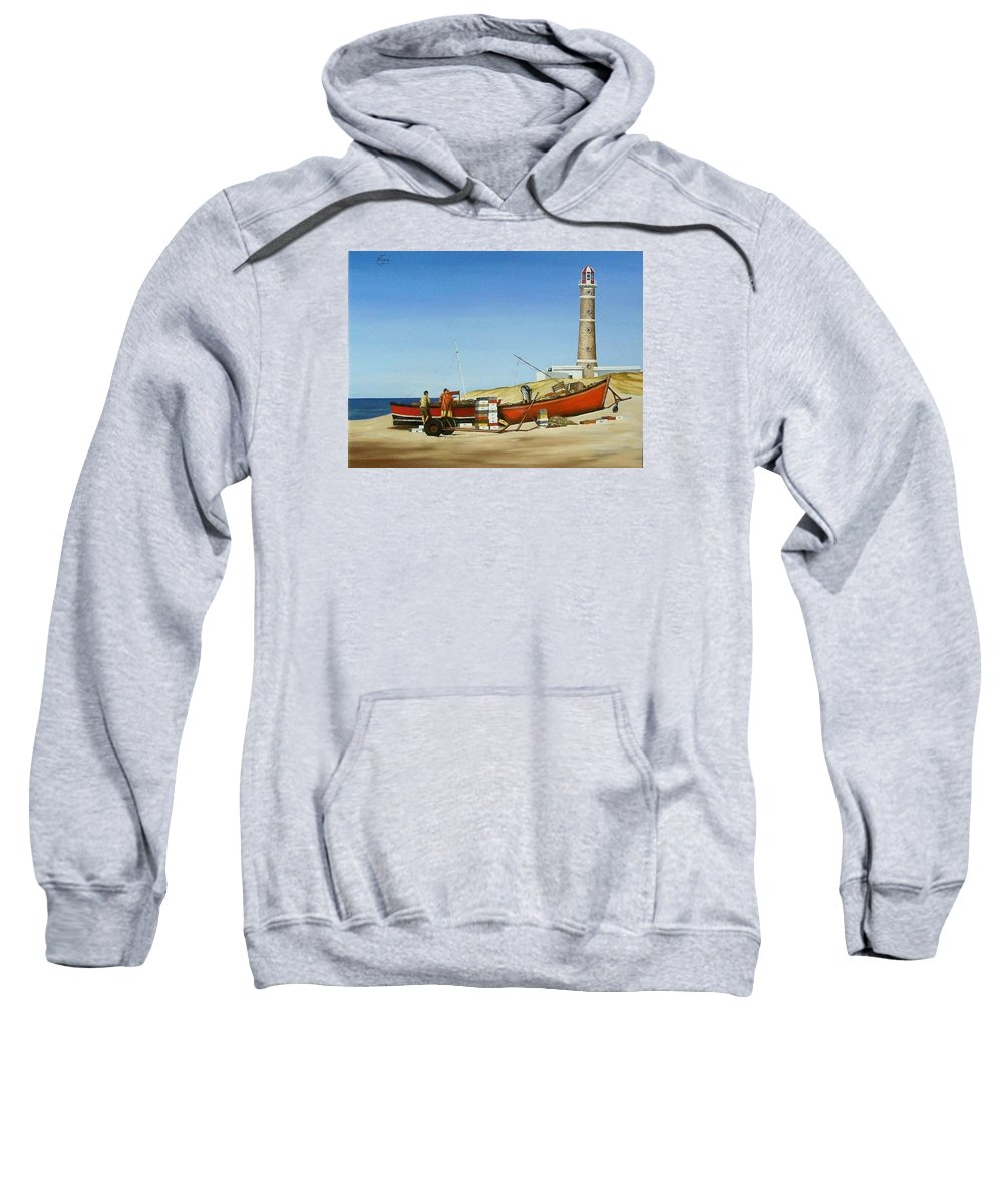 Lighthouse Fishermen Sea Seascape Sweatshirt featuring the painting Fishermen By Lighthouse by Natalia Tejera
