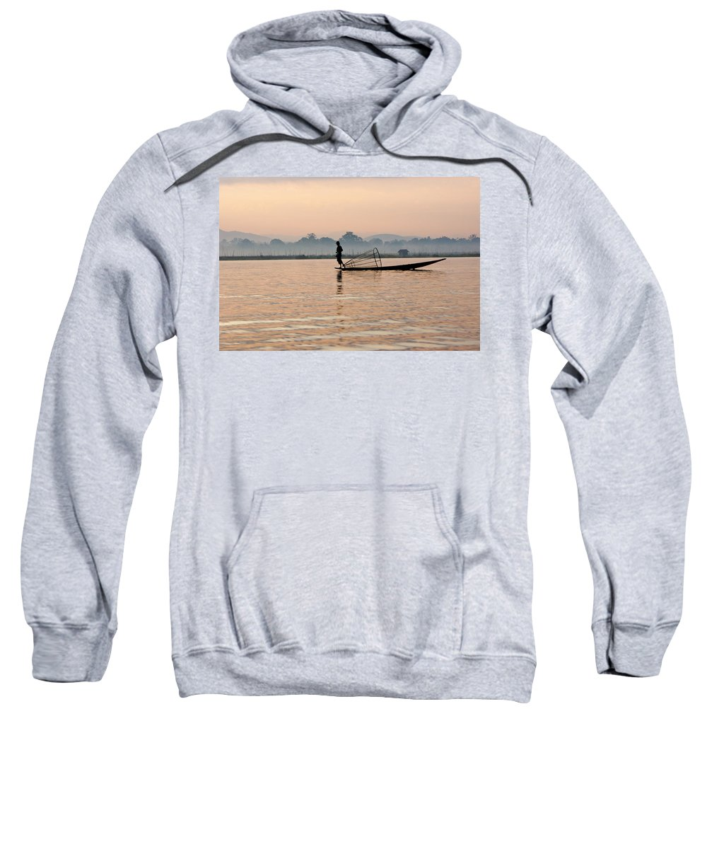 Asia Sweatshirt featuring the photograph Fishing At Dawn by Michele Burgess