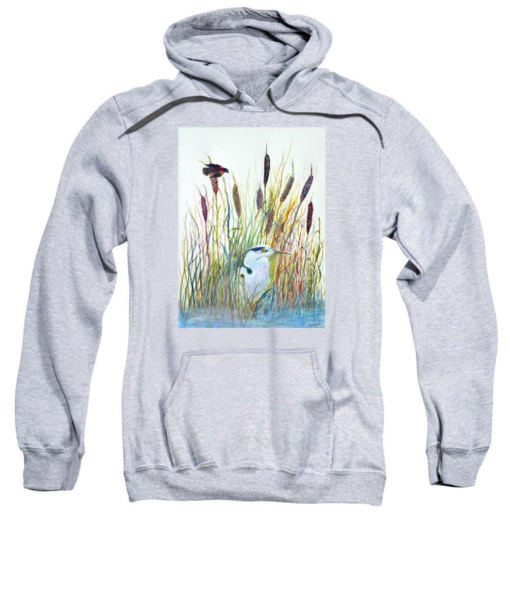 Fishing Sweatshirt featuring the painting Fishing Blue Heron by Ben Kiger