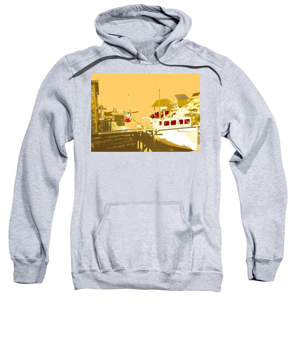 Red Sweatshirt featuring the photograph Fishing Boat At The Dock by Ian MacDonald