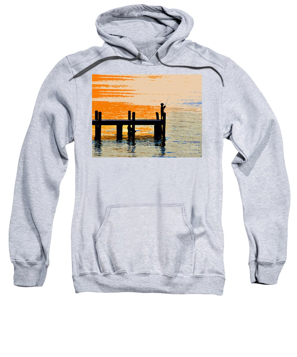 Boy Sweatshirt featuring the painting Fishing Boy by David Lee Thompson