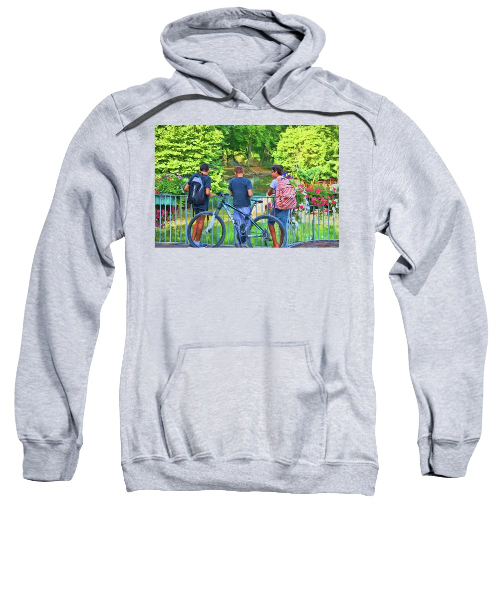 Fishing Friends Sweatshirt featuring the photograph Fishing Friends, Azay Le Rideau, Loire Valley, France by Curt Rush