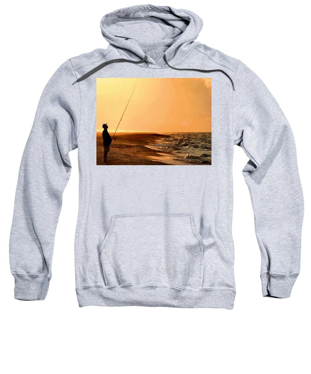 Fishing Sweatshirt featuring the digital art Fishing by Kristin Elmquist