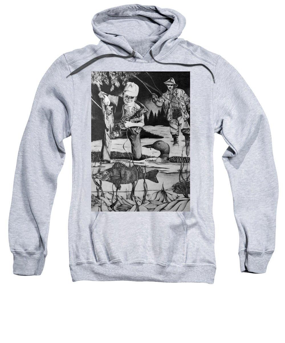 Fishing Sweatshirt featuring the drawing Fishing Vacation by Bruce Bley