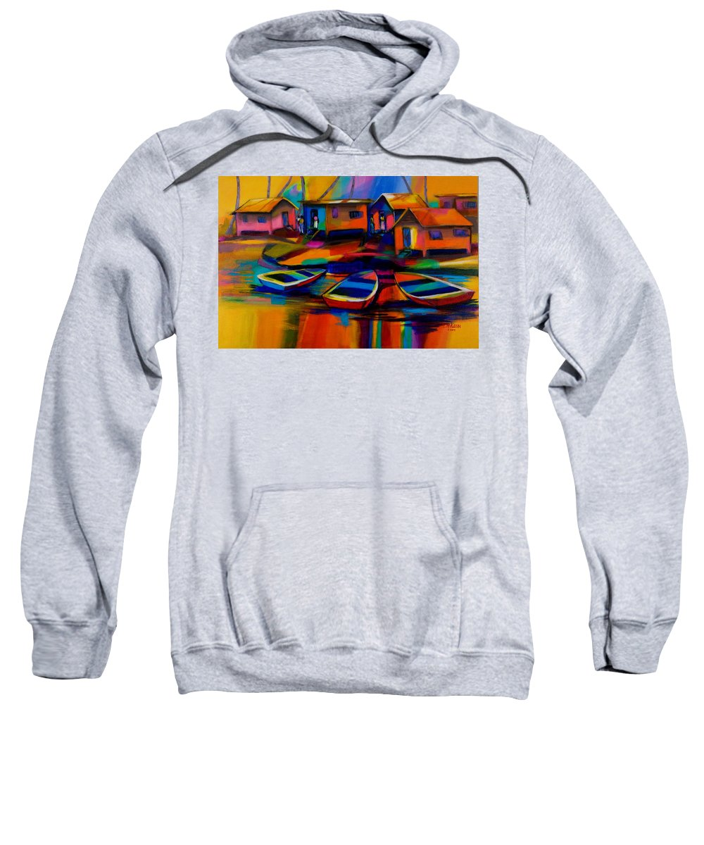 Fishing Sweatshirt featuring the painting Fishing Village by Cynthia McLean