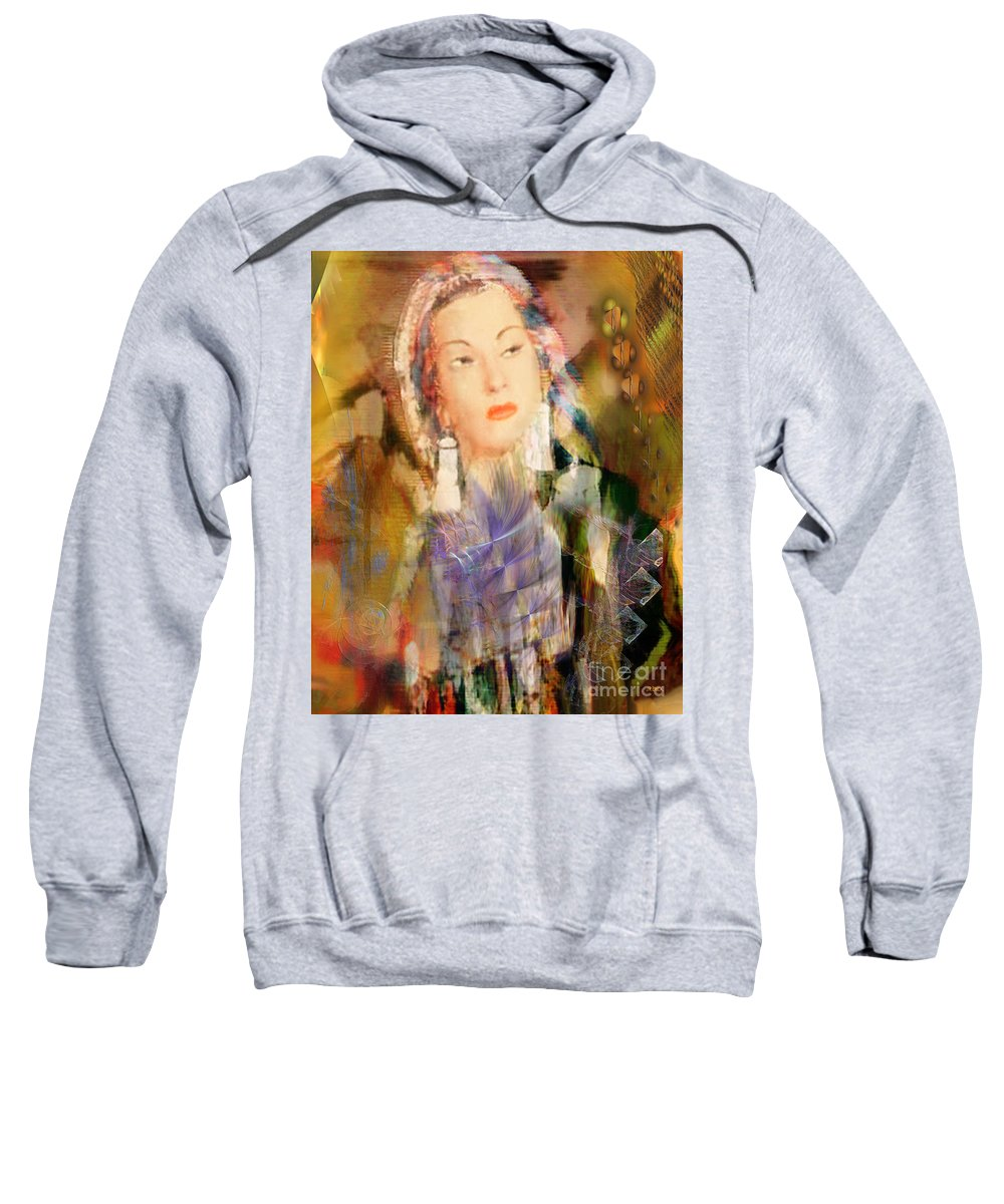 Sweatshirt featuring the digital art Five Octaves - Tribute To Yma Sumac by John Beck