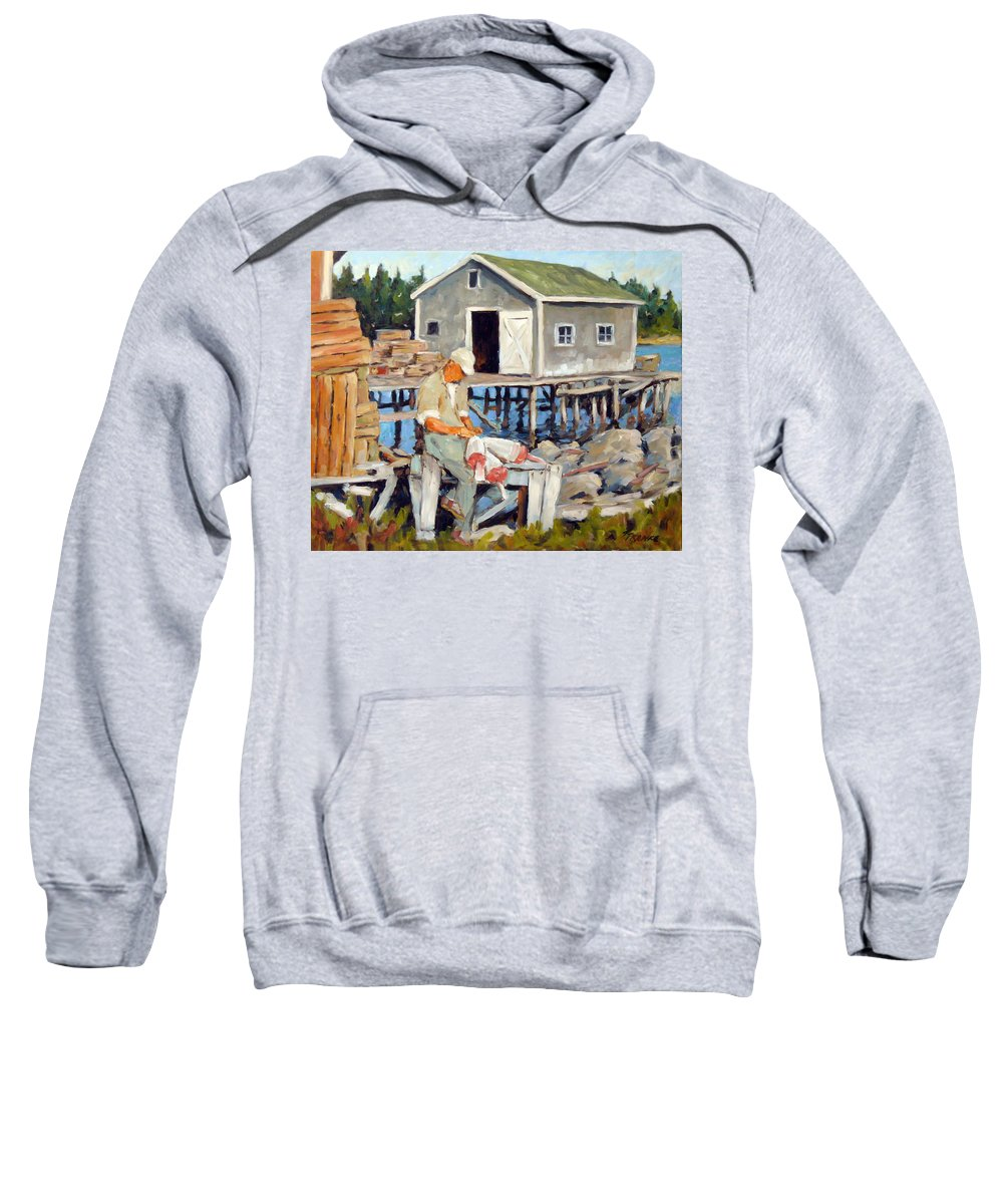 Fishing Boats Sweatshirt featuring the painting Fixing Floats by Richard T Pranke