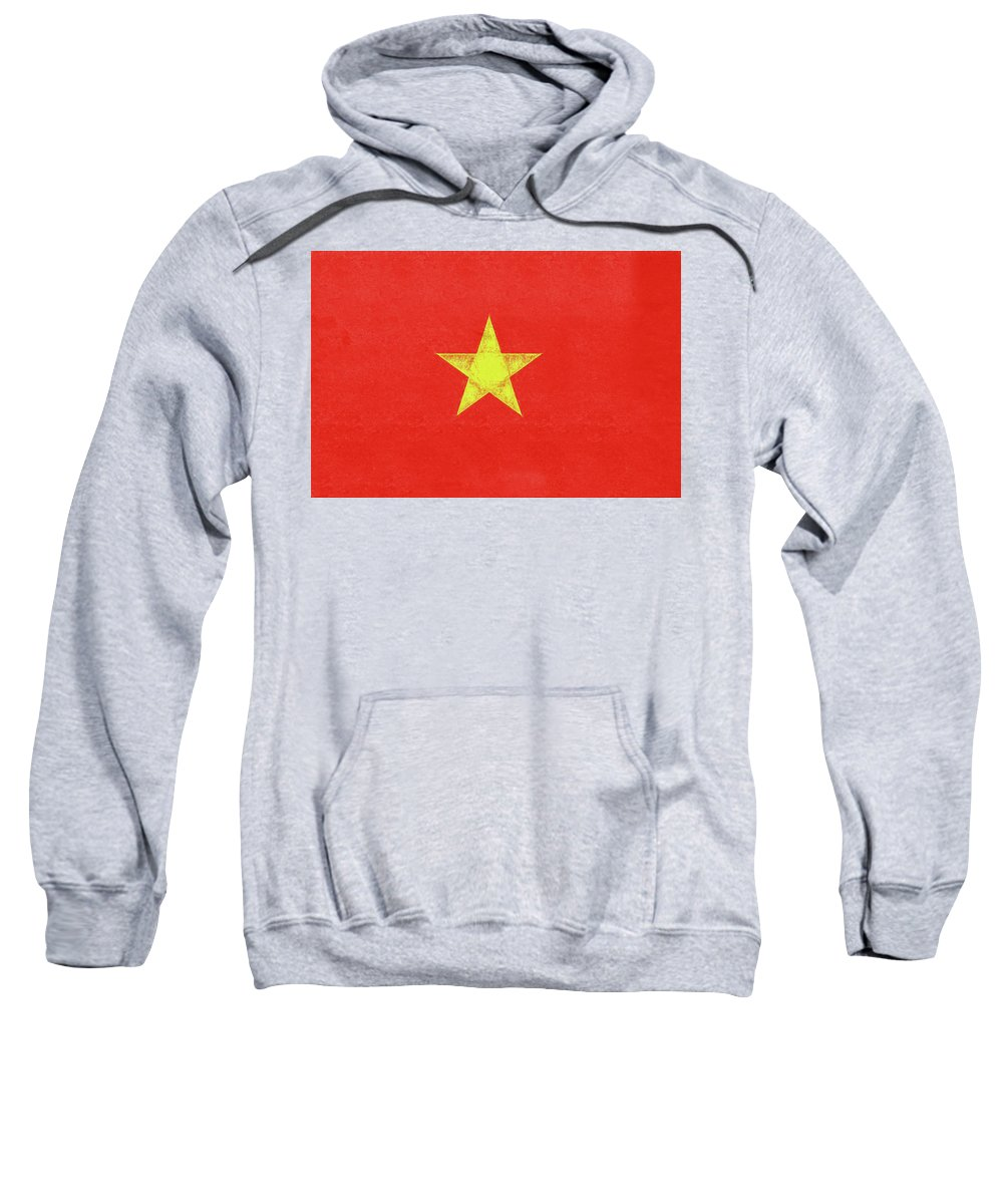 Asia Sweatshirt featuring the digital art Flag Of Vietnam Grunge by Roy Pedersen