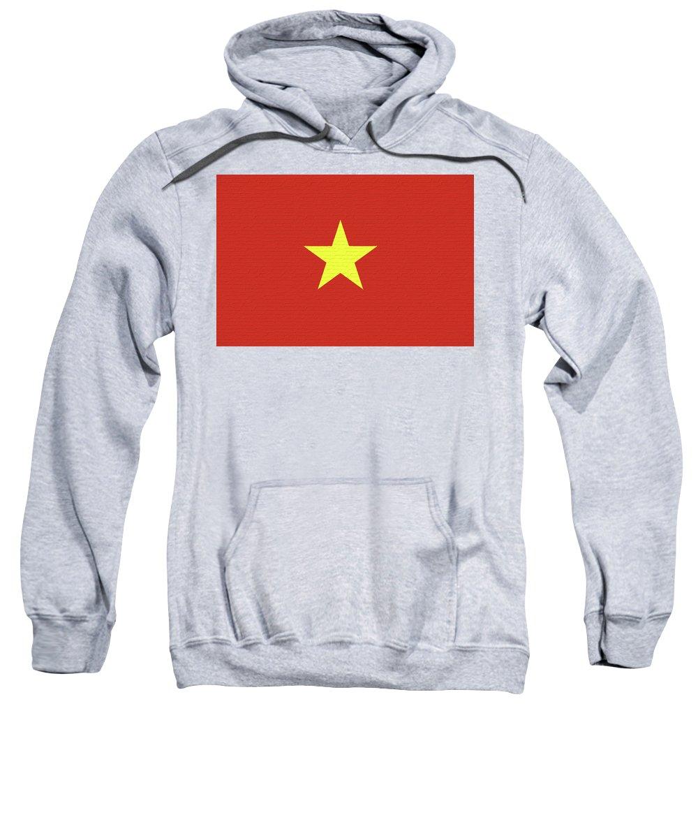Asia Sweatshirt featuring the digital art Flag Of Vietnam Wall by Roy Pedersen