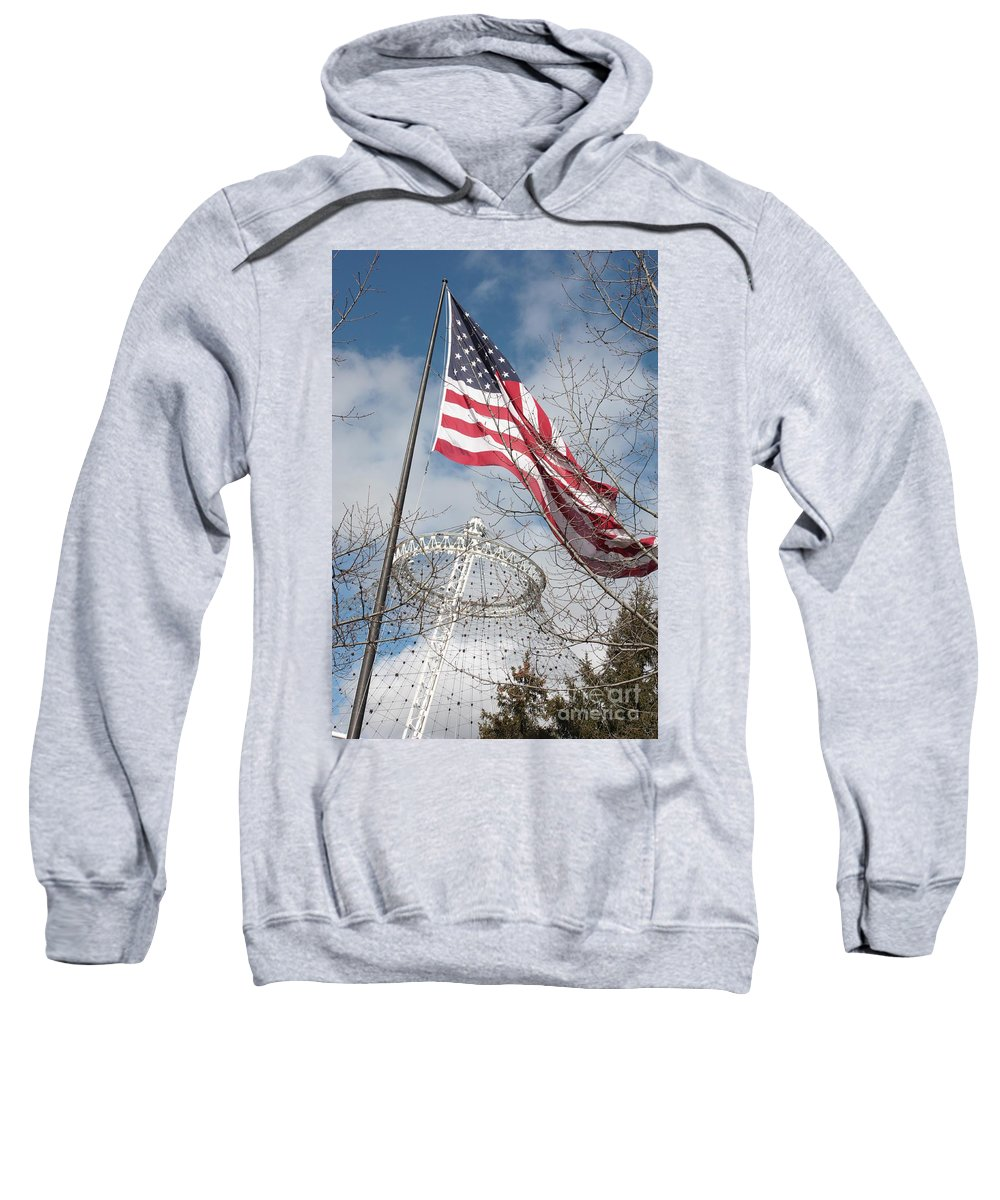 American Flag Sweatshirt featuring the photograph Flag Over Spokane Pavilion by Carol Groenen