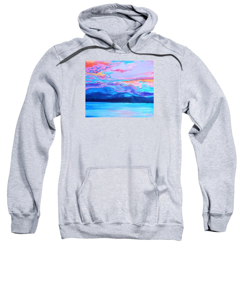 Dramatic Intense Brightly Colored Sunset Sky Sweatshirt featuring the painting Flagstaff Lake Winter Sunset by Expressionistart studio Priscilla Batzell