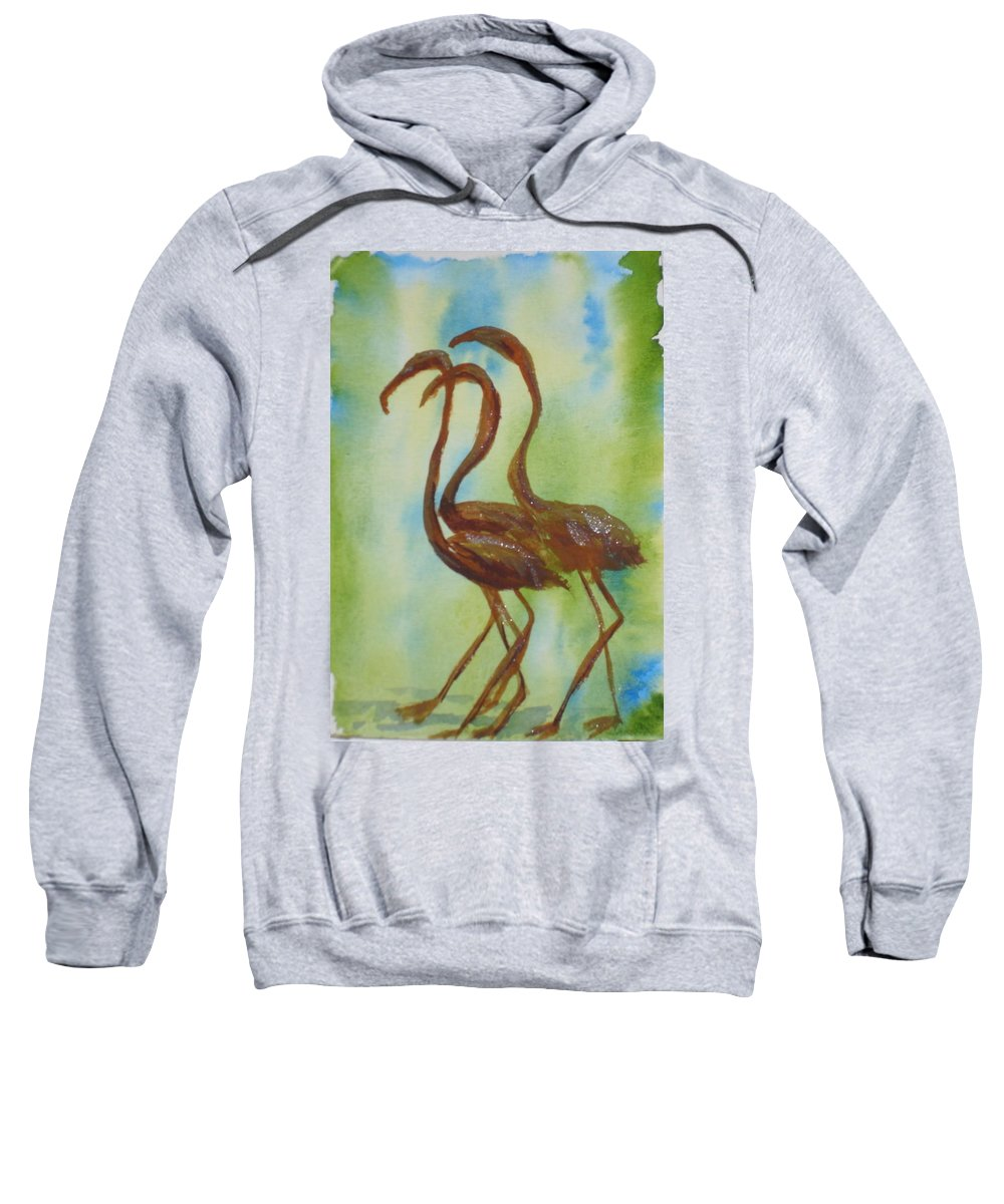 Flamingos Sweatshirt featuring the painting Flamingos In Vail by Vicki Housel