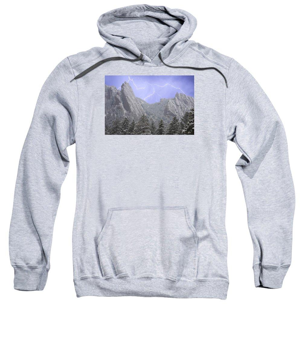 Flatirons Sweatshirt featuring the photograph Flatirons Lightning by James BO Insogna