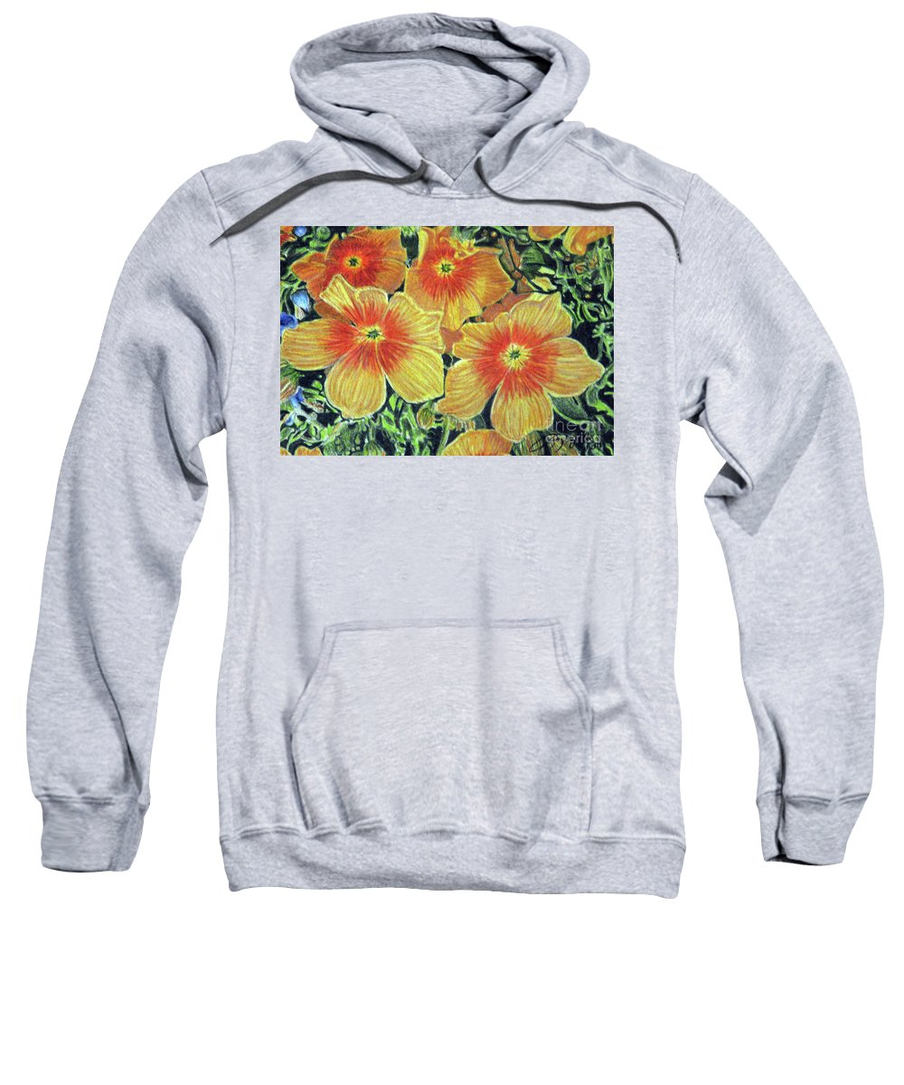 Fuqua - Artwork Sweatshirt featuring the drawing Flax by Beverly Fuqua