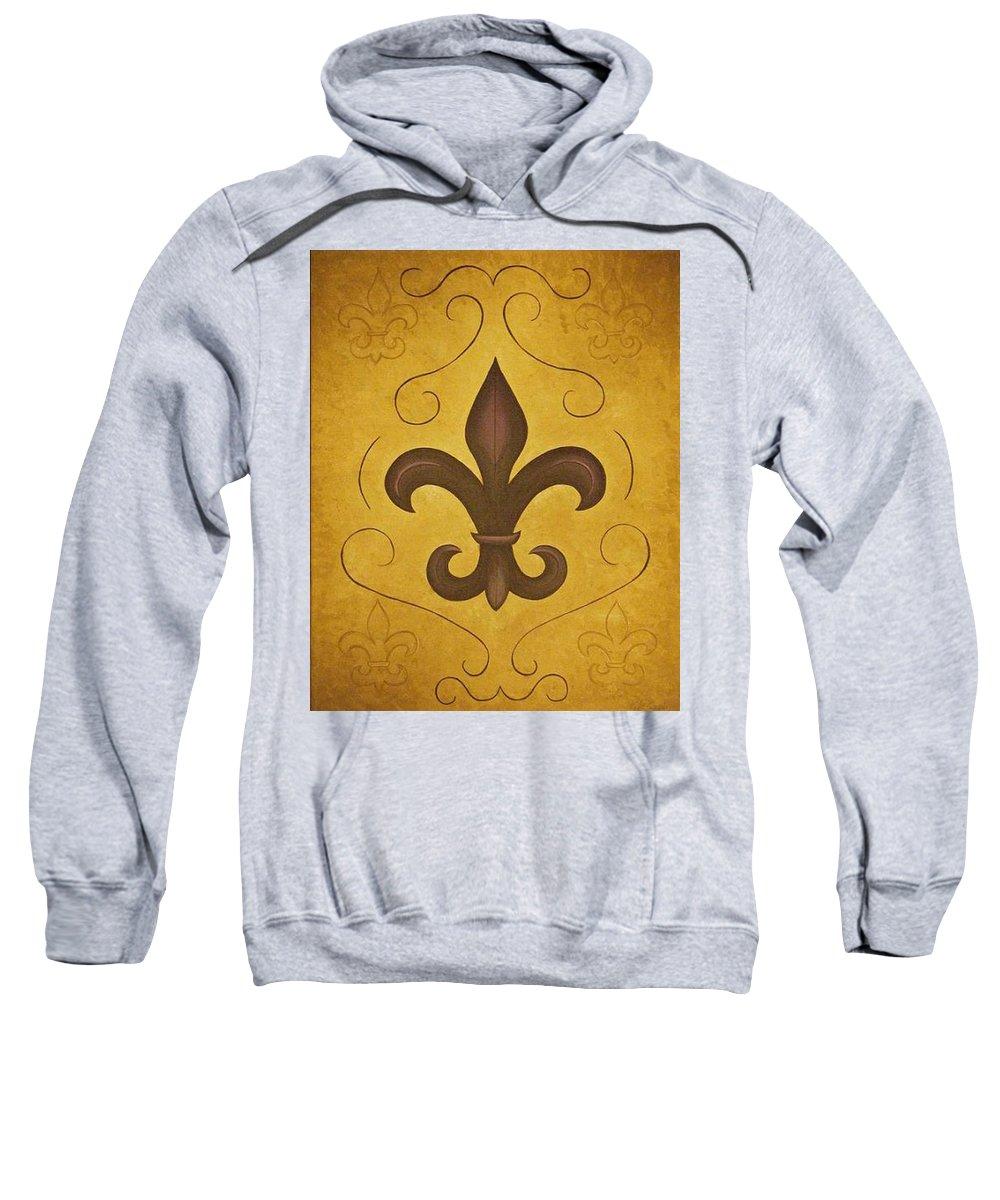 Fleur De Lis Sweatshirt featuring the painting Fleur De Lis II by Valerie Carpenter
