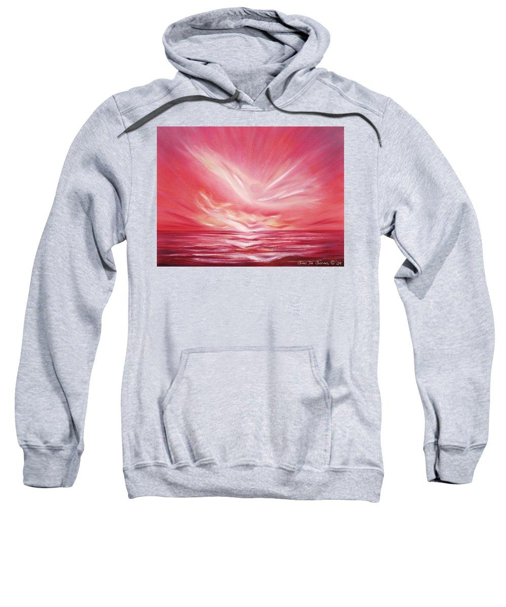 Sunset Sweatshirt featuring the painting Flight At Sunset by Gina De Gorna