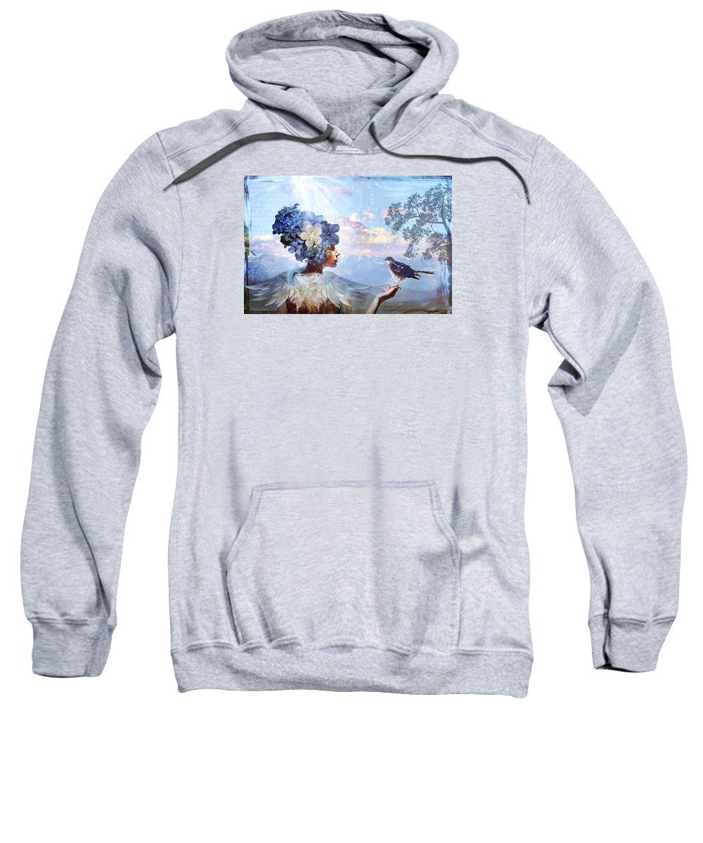 Fantasy Sweatshirt featuring the digital art Flight Of Fancy by Laura Lipke