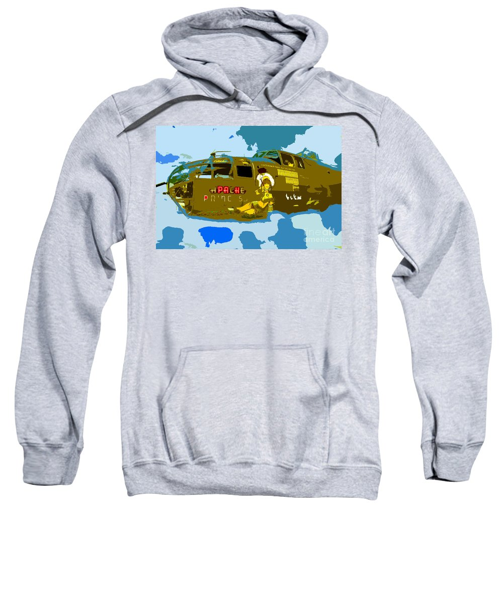 Bomber Sweatshirt featuring the painting Flight Of The Apache Princess by David Lee Thompson