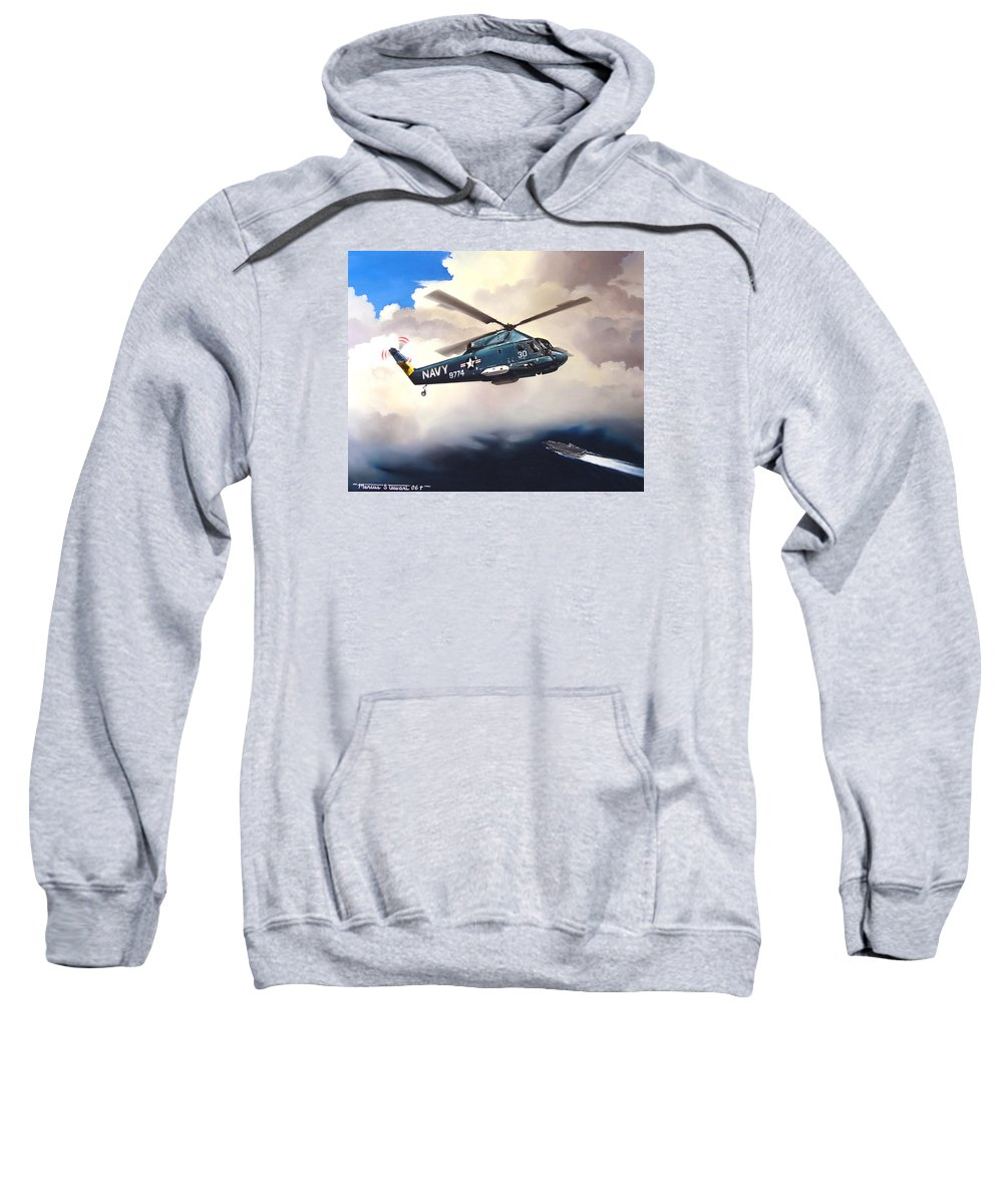 Military Sweatshirt featuring the painting Flight Of The Seasprite by Marc Stewart