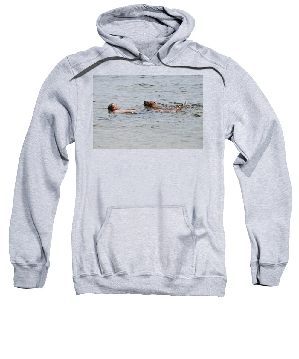 Man Sweatshirt featuring the photograph Floating In The Sea by Rob Hans