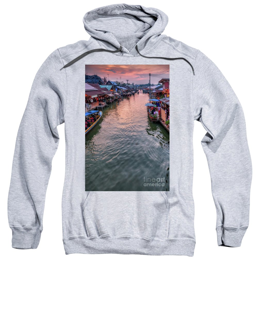 River Sweatshirt featuring the photograph Floating Market Sunset by Adrian Evans