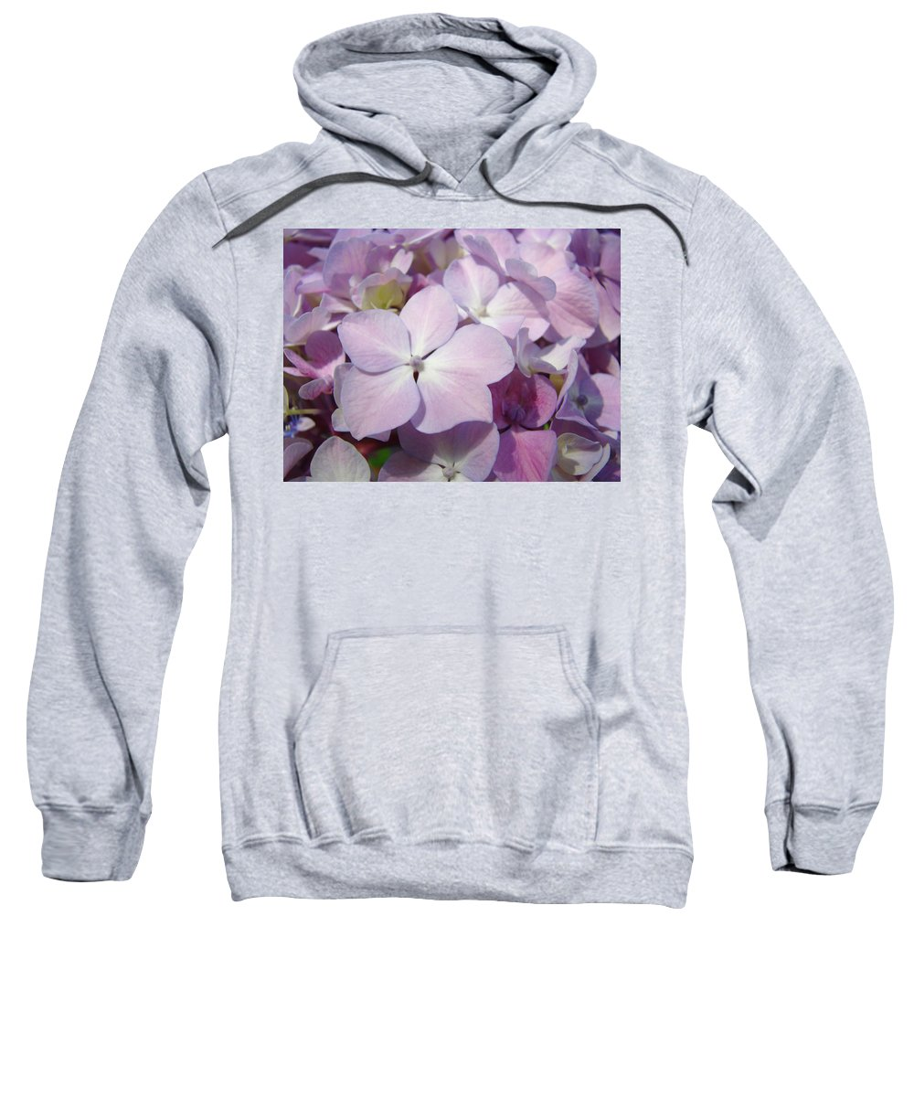 Nature Sweatshirt featuring the photograph Floral Art Hydrangea Flowers Purple Lavender Baslee Troutman by Baslee Troutman
