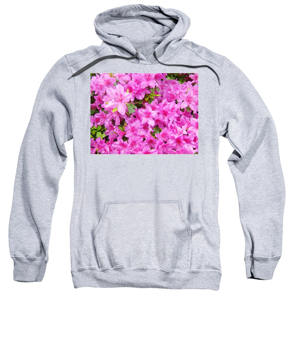 Azalea Sweatshirt featuring the photograph Floral Art Prints Pink Azalea Garden Landscape Baslee Troutman by Baslee Troutman