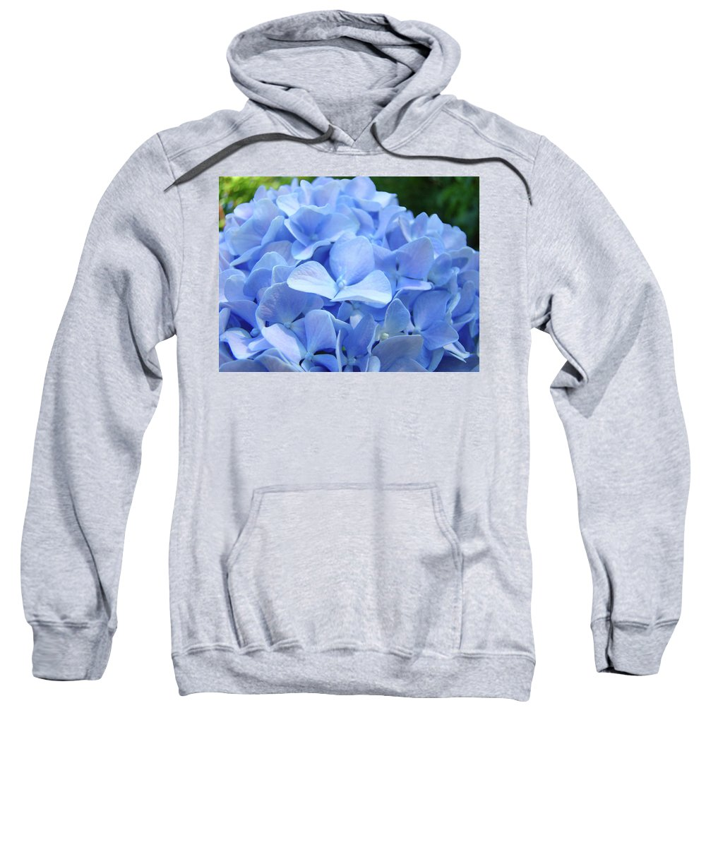 Hydrangea Sweatshirt featuring the photograph Floral Artwork Blue Hydrangea Flowers Baslee Troutman by Baslee Troutman