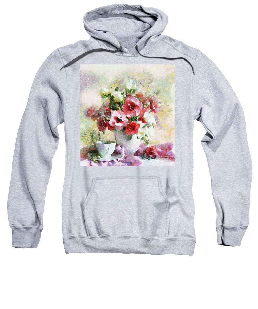 Floral Bouquet Table Setting In Tiny Bubbles Sweatshirt featuring the painting Floral Bouquet Table Setting In Tiny Bubbles by Catherine Lott