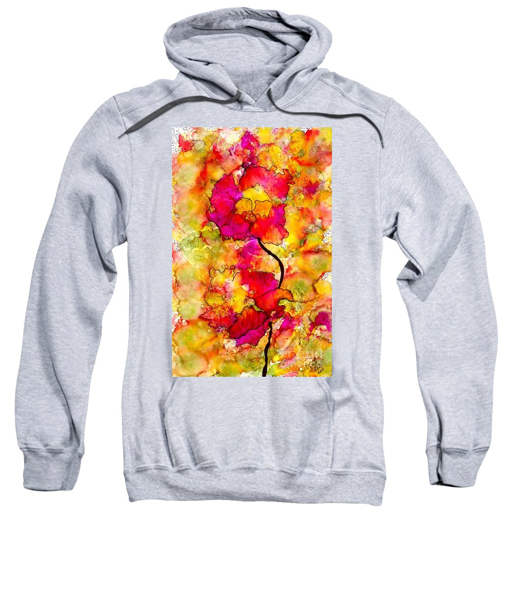 Abstract Sweatshirt featuring the painting Floral Duet by Angela L Walker