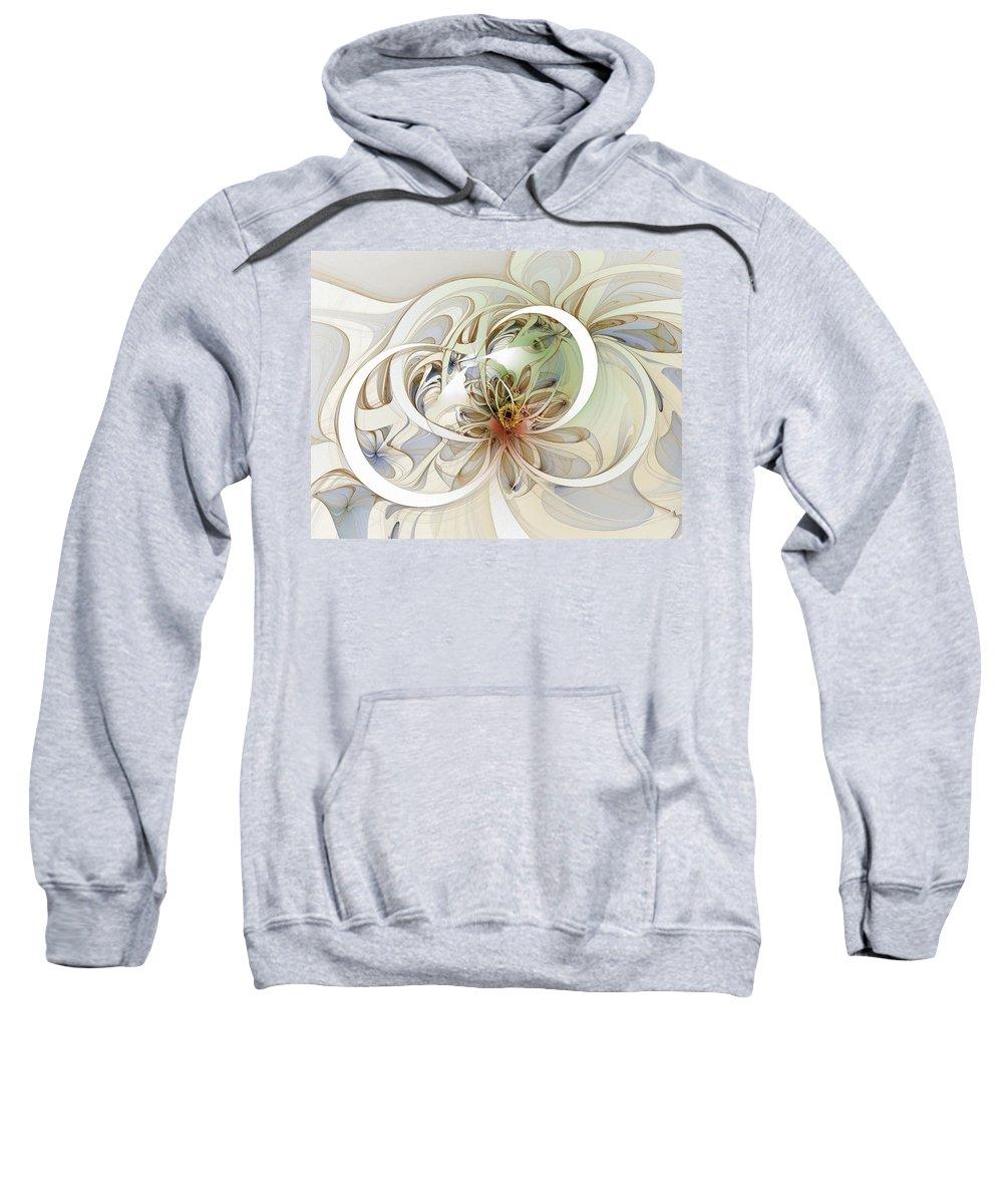 Digital Art Sweatshirt featuring the digital art Floral Swirls by Amanda Moore