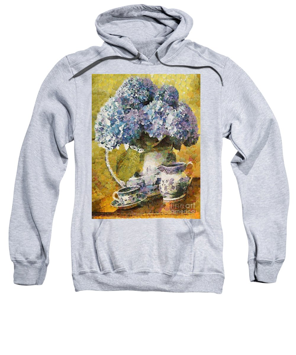 Floral Table Onset In Tiny Bubbles Sweatshirt featuring the painting Floral Table Onset In Tiny Bubbles by Catherine Lott