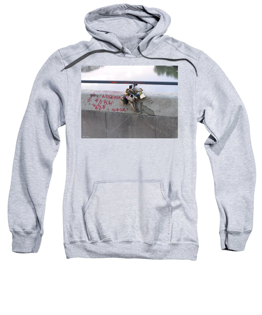 Florentine Love Locks Sweatshirt featuring the photograph Florentine Love Locks by Ginger Repke