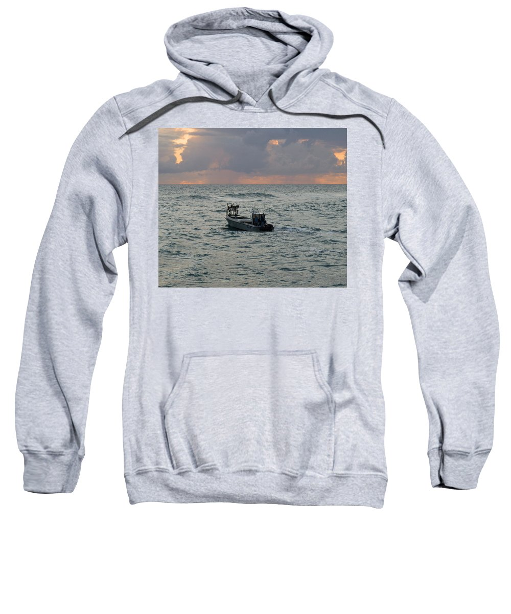 Florida; Lobster; Lobstermen; Lobsterman; Boat; Trap; Catch; Haul; Traps; Sebastian; Inlet; Atlantic Sweatshirt featuring the photograph Florida Lobstermen At Dawn by Allan Hughes