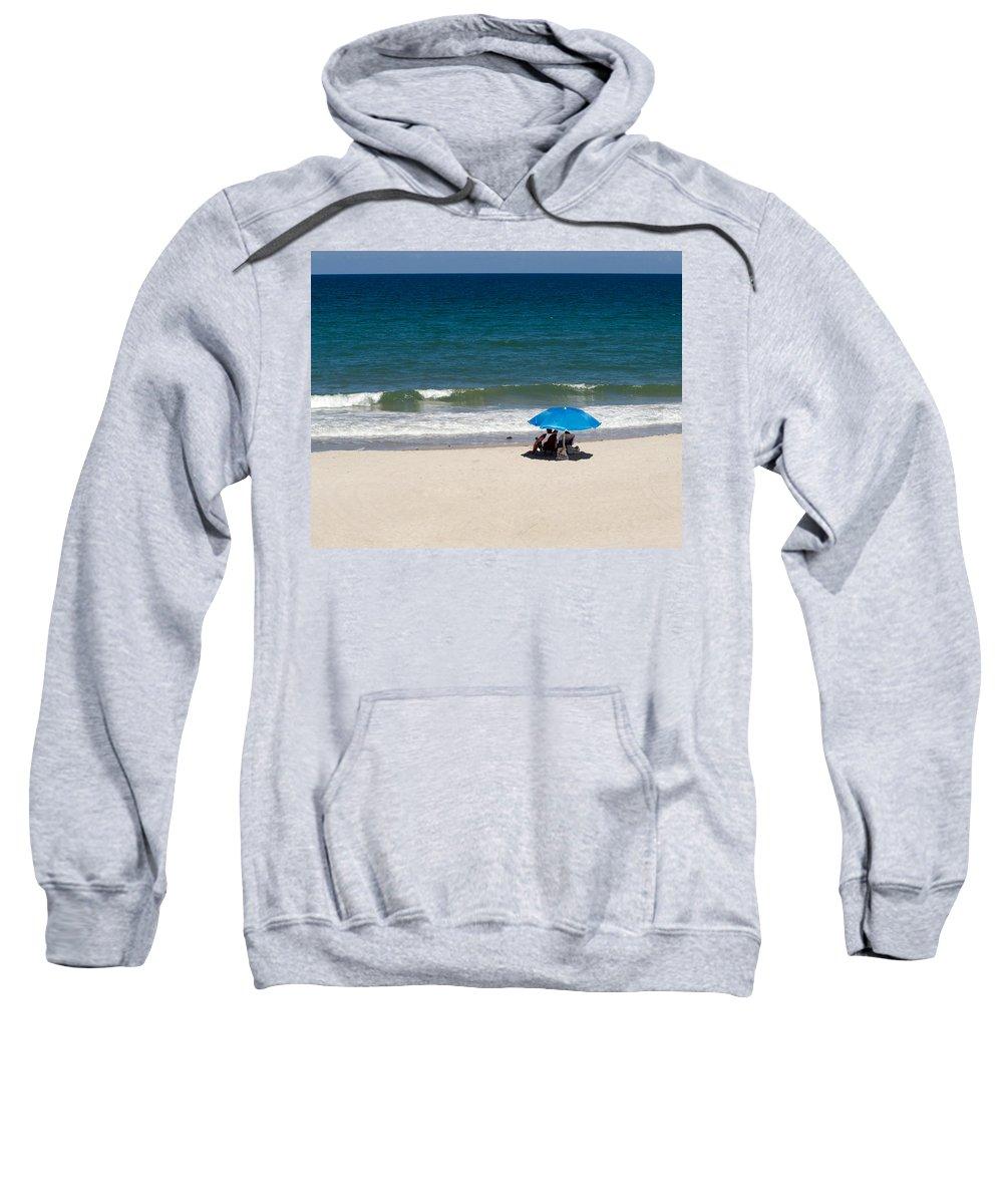 Florida; Beach; Summer; Ocean; Sea; Shore; Coast; Sand; Sandy; Waves; Surf; People; Umbrella; Swim; Sweatshirt featuring the photograph Florida Summer by Allan Hughes