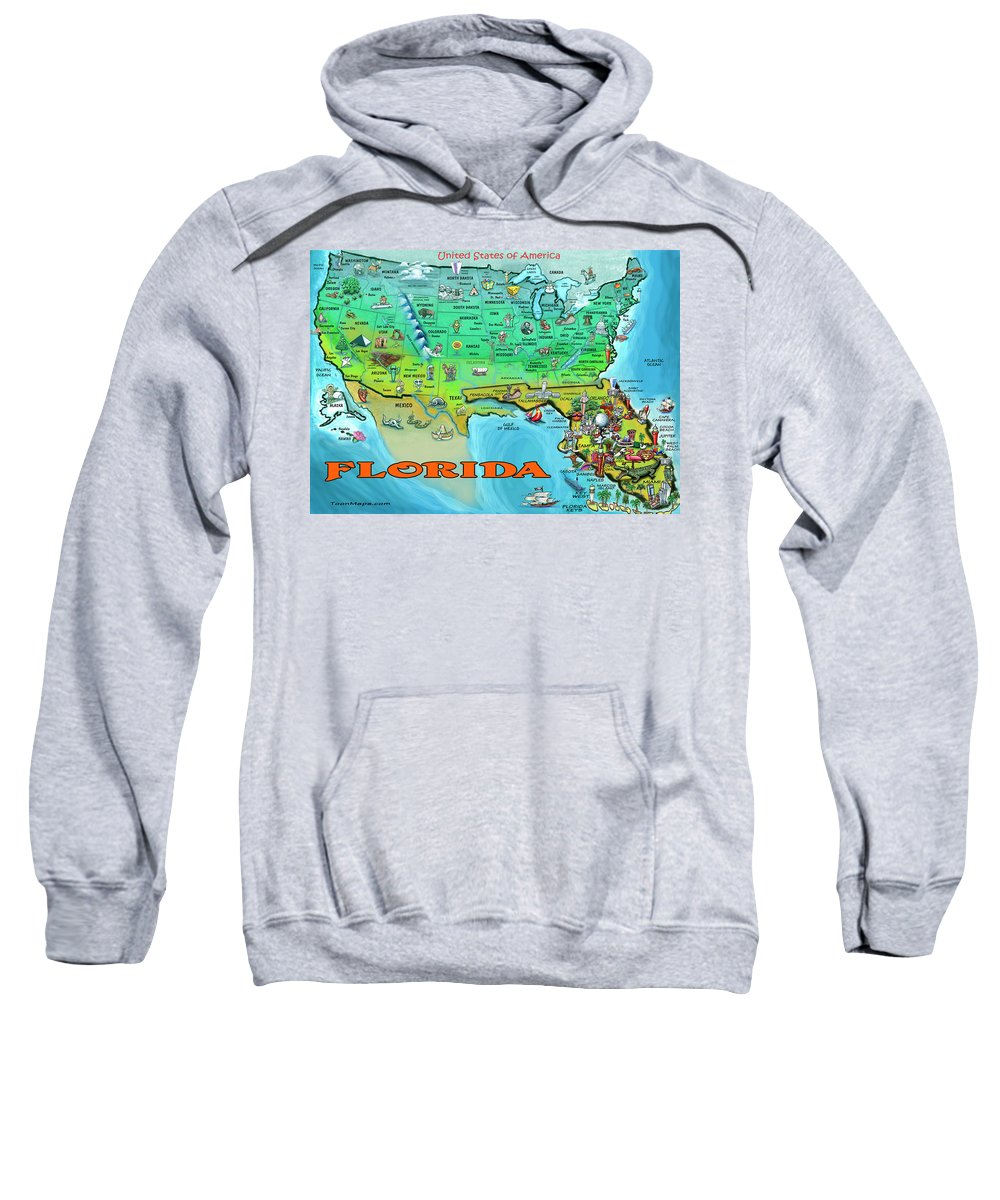 Florida Sweatshirt featuring the painting Florida Usa Cartoon Map by Kevin Middleton