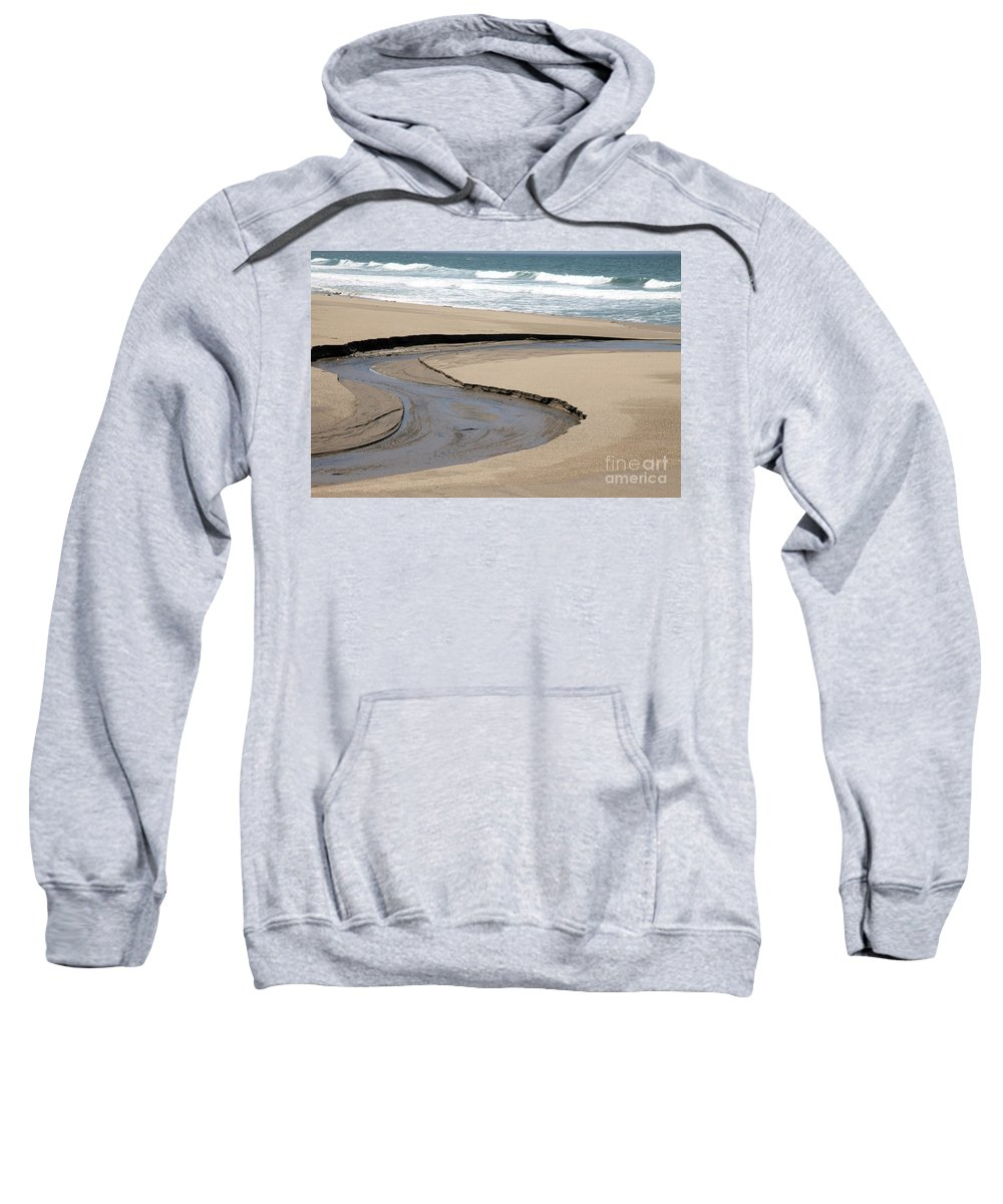 black And White Sweatshirt featuring the photograph Flow - Scott Creek by Amanda Barcon