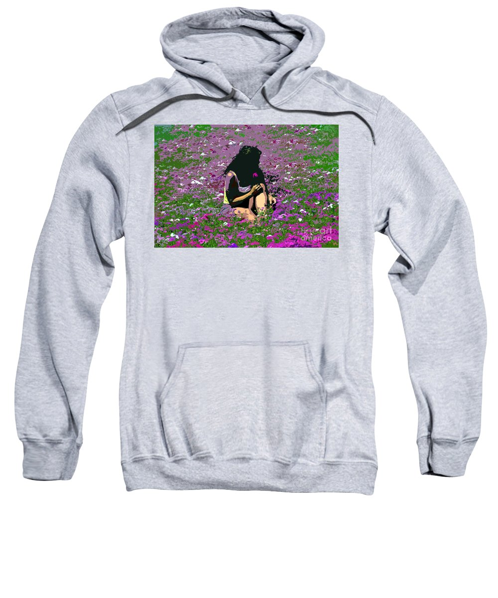 Flowers Sweatshirt featuring the painting Flower Girl by David Lee Thompson