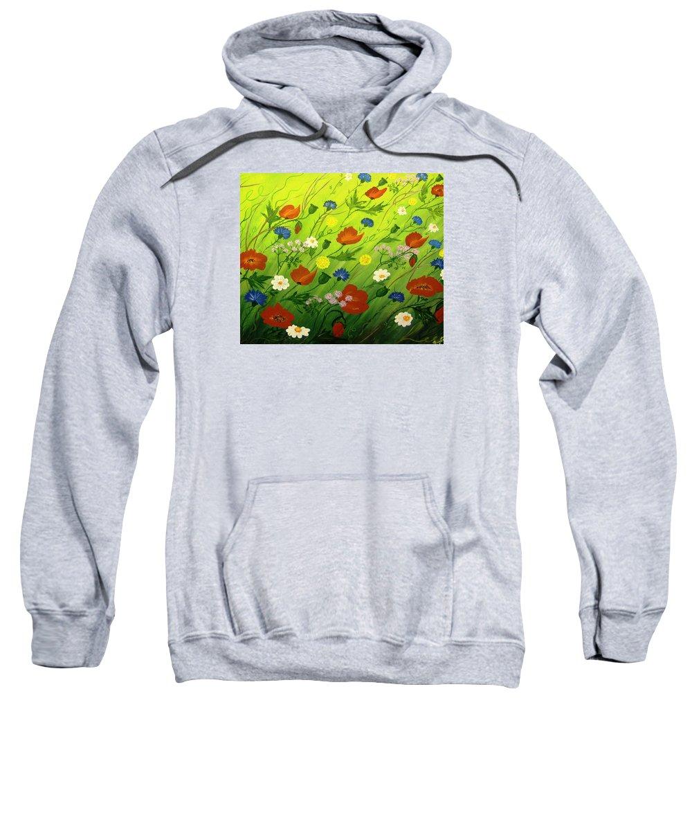 Flower Sweatshirt featuring the painting Flower Meadow by Sigita Smetonaite