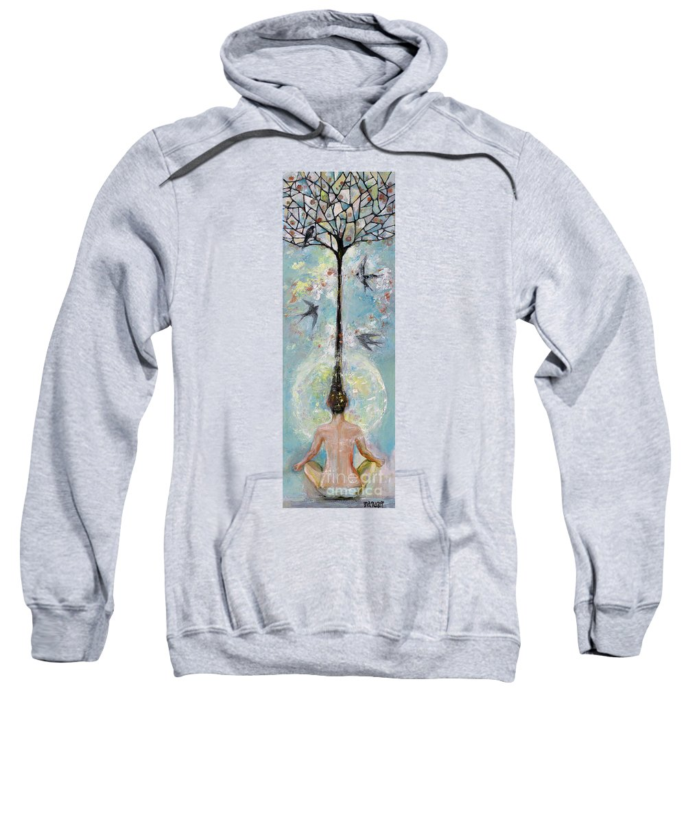Flower Sweatshirt featuring the painting Flower Mind by Manami Lingerfelt