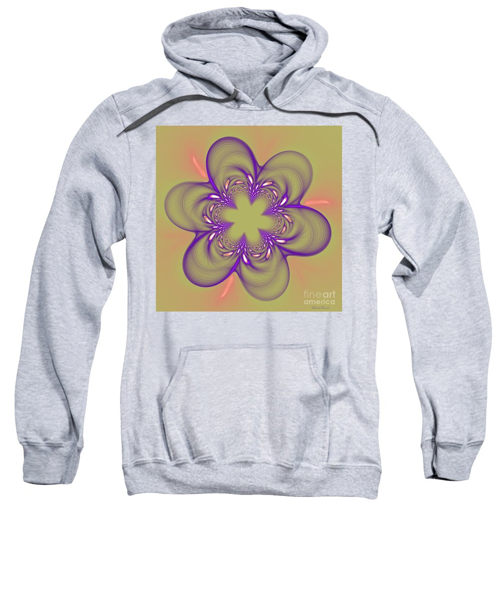 Fractal Sweatshirt featuring the photograph Flower Of Pink - Purple by Deborah Benoit