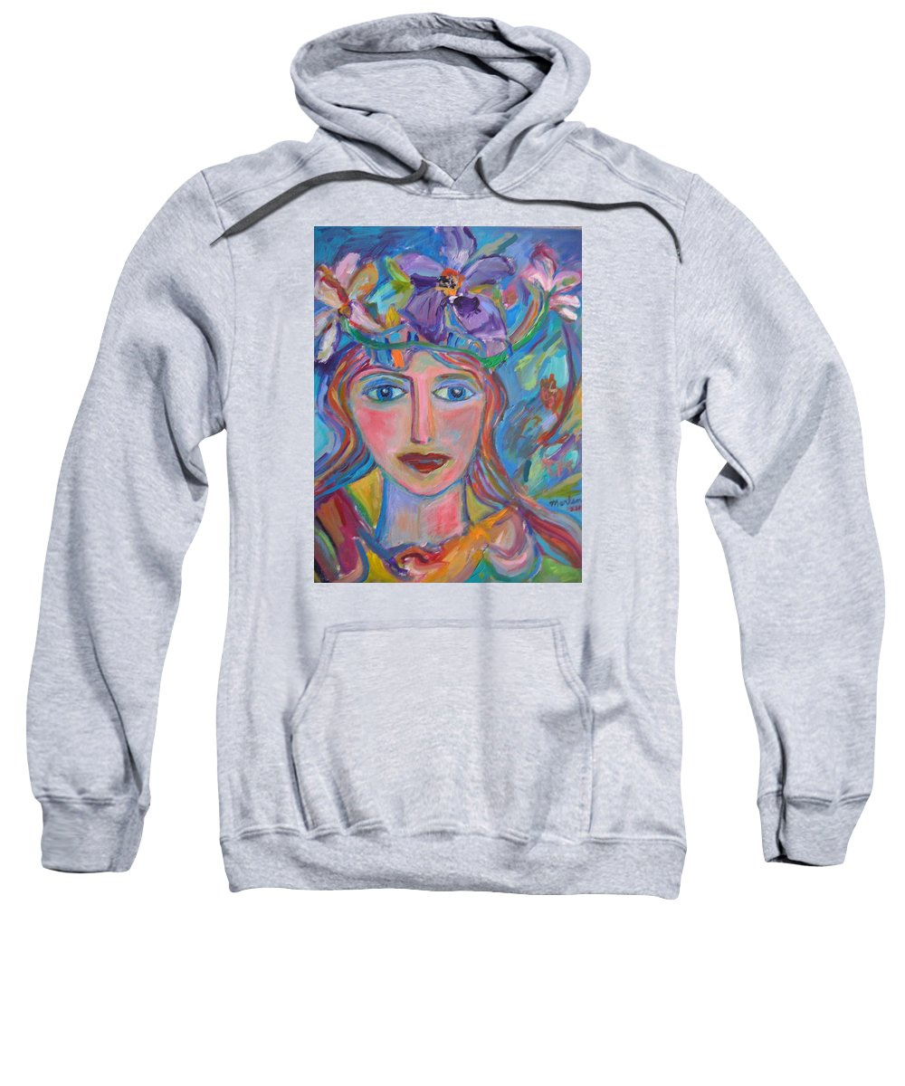 Face Sweatshirt featuring the painting Flower Princess by Marlene Robbins