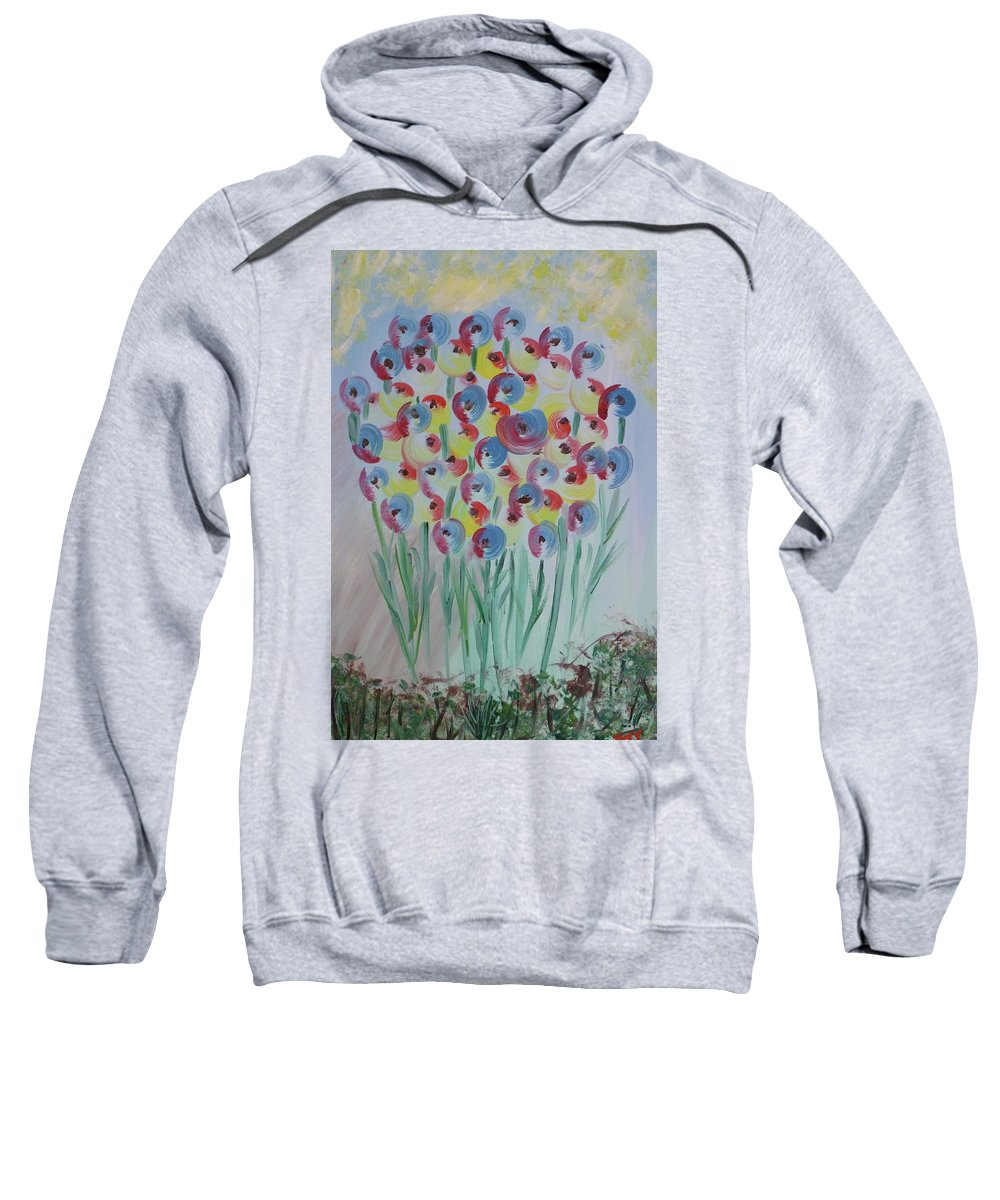 Flowers Sweatshirt featuring the painting Flower Twists by Barbara Yearty