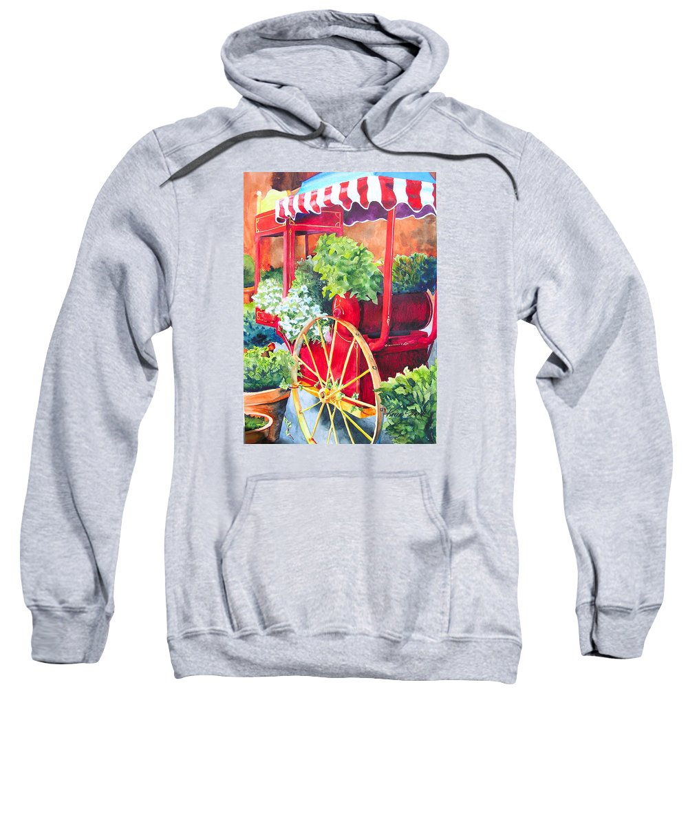 Floral Sweatshirt featuring the painting Flower Wagon by Karen Stark