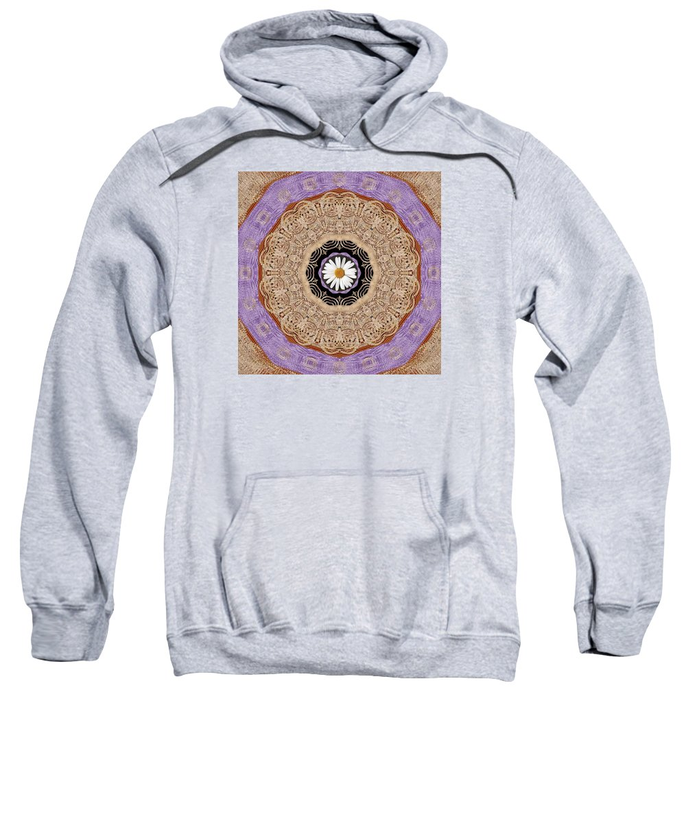 Fauna Sweatshirt featuring the mixed media Flower With Wood Embroidery by Pepita Selles