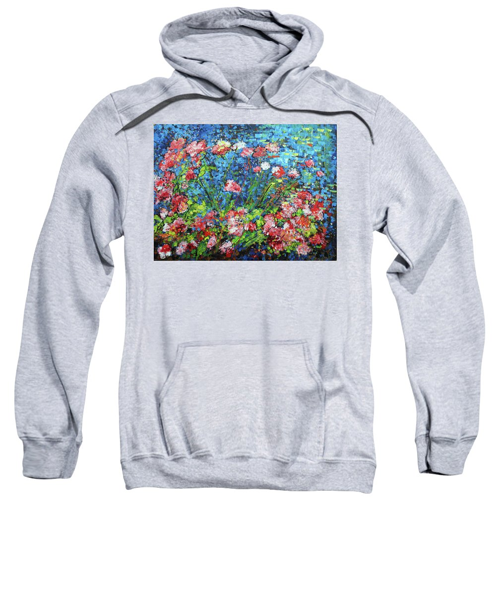 Electric Blue Sweatshirt featuring the painting Flowering Shrub In Pink On Bright Blue 201676 by Alyse Radenovic