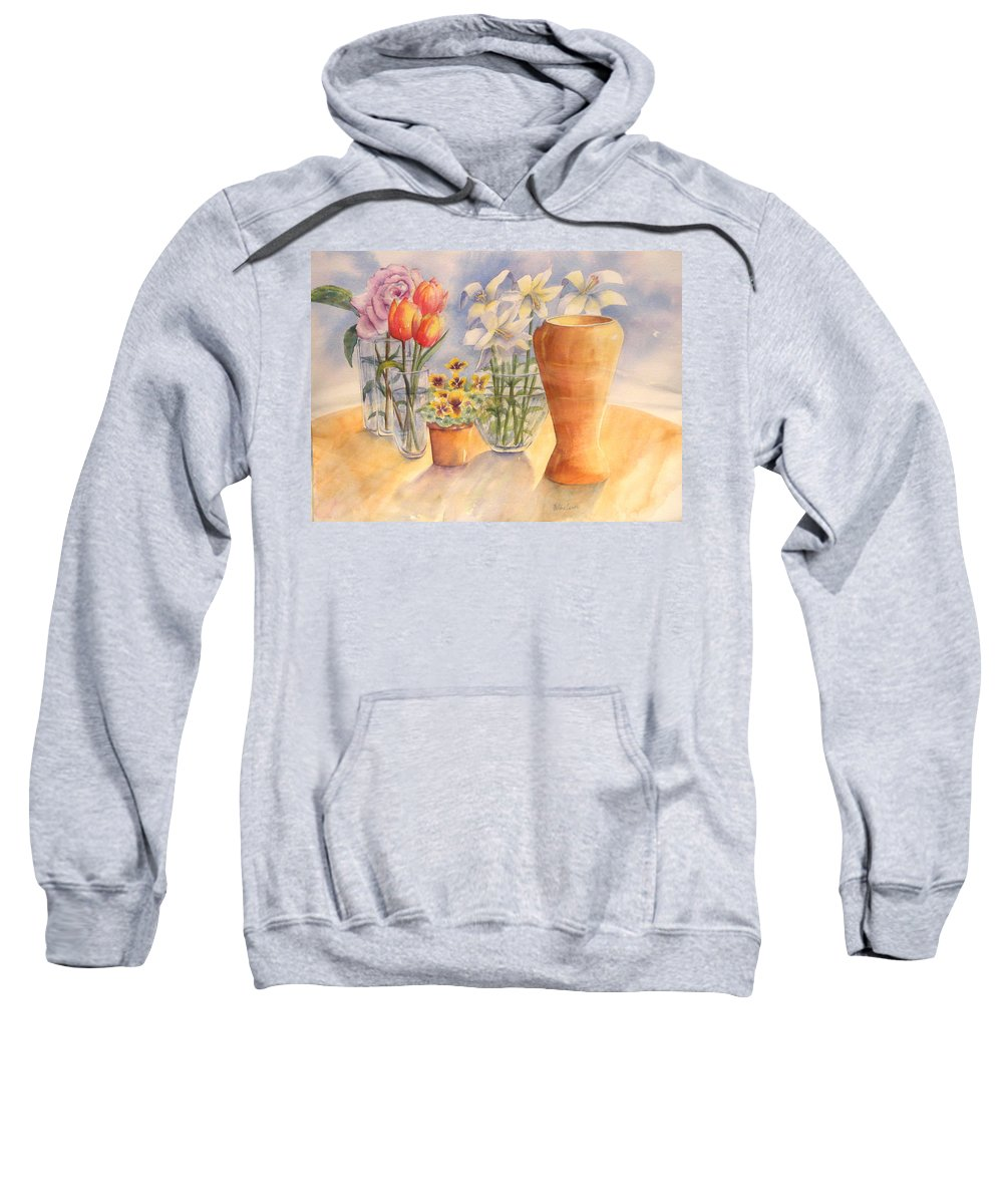 Watercolor Sweatshirt featuring the painting Flowers And Terra Cotta by Debbie Lewis