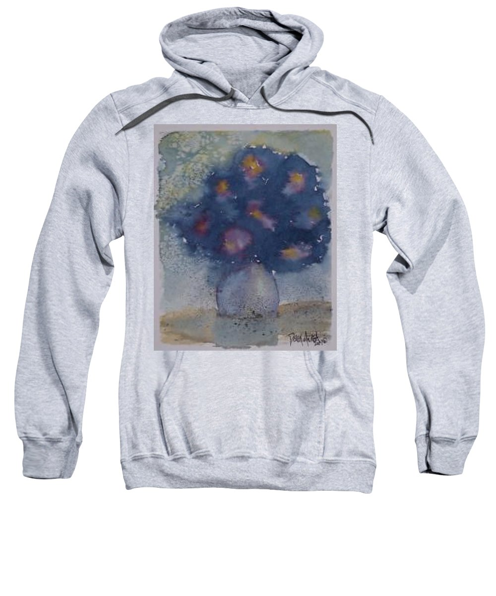 Watercolor Sweatshirt featuring the painting FLOWERS AT NIGHT original abstract gothic surreal art by Derek Mccrea