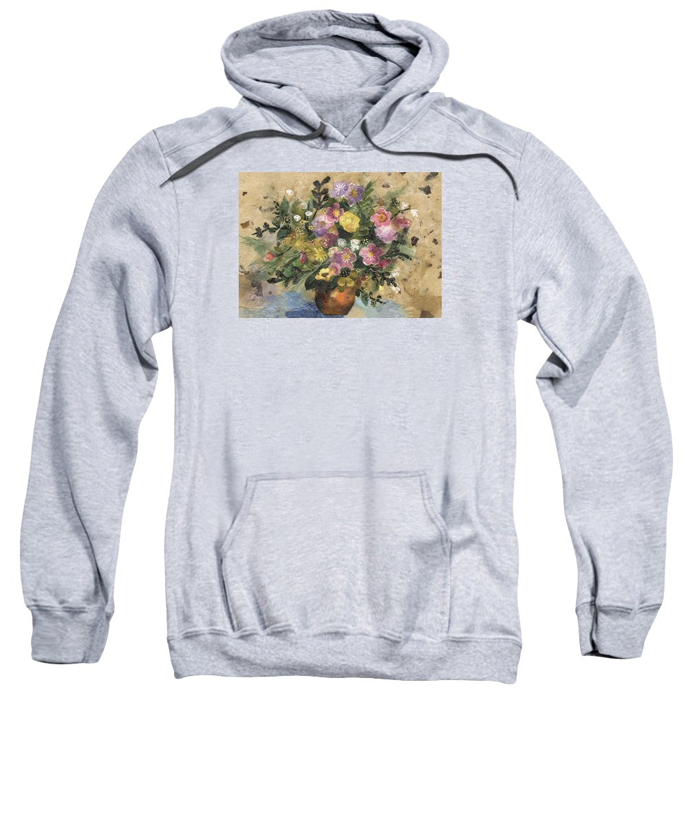 Limited Edition Prints Sweatshirt featuring the painting Flowers in a Clay Vase by Nira Schwartz